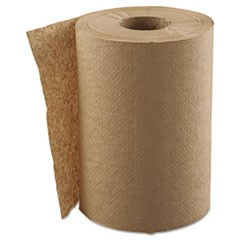 "Hardwound Roll Towels, 1-Ply, Natural, 8"" x 300 ft, 12 Rolls/Carton"