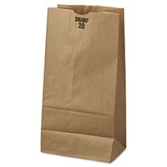 20# Paper Bag, 40lb Kraft, Brown, 8 1/4 x 5 5/16 x 16 1/8, 500/Pack