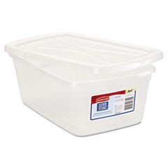 Clever Store Snap-Lid Container, 8 1/2 x 13 3/8 x 4 3/4, 6 1/2 qt, Clear, 10/CT