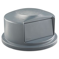 Round BRUTE Dome Top Receptacle, Push Door, 24.81w x 12.63h, Gray