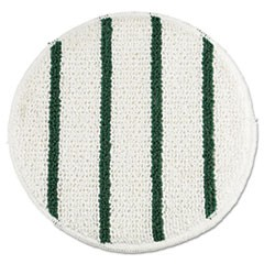 "Low Profile Scrub-Strip Carpet Bonnet, 19"" Diameter, White/Green, 5/Carton"