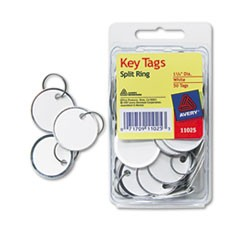Metal Rim Key Tags, Card Stock/Metal, 1 1/4 dia, White, 50/Pack