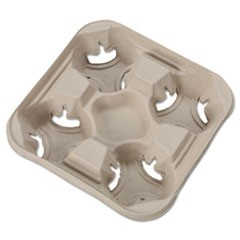StrongHolder Molded Fiber Cup Trays, 8-32 oz, Four Cups, Beige, 300/Carton
