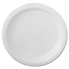 "Heavyweight Plastic Plates, 9"" Diameter, White, 125/Pack, 4 Packs/CT"