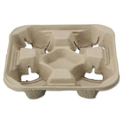 StrongHolder Molded Fiber Cup Trays, 8-22oz, Four Cups, 200/Carton