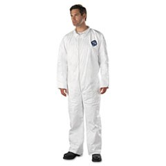 Tyvek Coveralls, Open Wrist/Ankle, HD Polyethylene, White, 2X-Large, 25/Carton