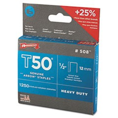"T50 Heavy Duty Staples, 0.5"" Leg, 0.38"" Crown, Steel, 1,250/Pack"