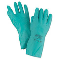 Sol-Vex Sandpatch-Grip Nitrile Gloves, Green, Size 10, 12 Pairs