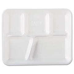 Foam School Trays, 5-Comp, 10 2/5 x 8 2/5 x 1 1/4, White, 500/Carton