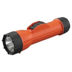 WorkSAFE Waterproof Flashlight, 2 D Batteries, Orange/Black
