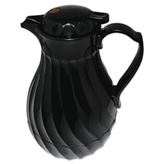 1Poly Lined Carafe, Swirl Design, 64oz Capacity, Black