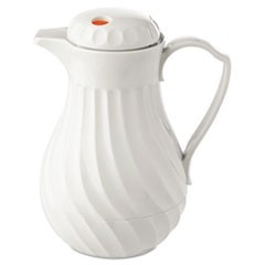 1Poly Lined Carafe, Swirl Design, 64oz Capacity, White