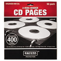 1Two-Sided CD Refill Pages for Three-Ring Binder, 50/Pack
