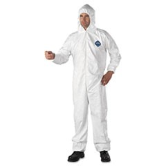 Tyvek Elastic-Cuff Hooded Coveralls, HD Polyethylene, White, 3X-Large, 25/Carton
