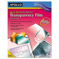 Quick-Dry Transparency Film, Removable Sensing Stripe, Letter, Clear, 50/Box