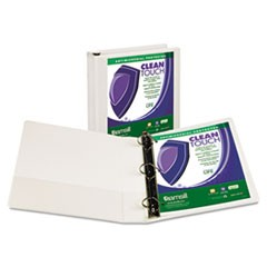 "Clean Touch Locking D-Ring View Binder, 1-1/2"" Cap, White"