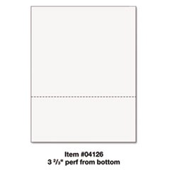 "Office Paper, Perforated 3 2/3"" From Bottom, 8 1/2 x 11, 24-lb, 500/Ream"