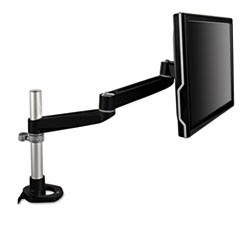 Dual-Swivel Monitor Arm, 4 1/2 x 25 1/2, Black/Gray