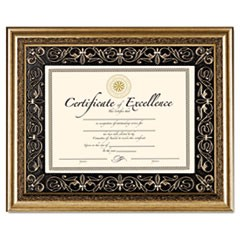 Florence Document Frame with Mat, Gold, Plastic, 11 x 14, 8 1/2 x 11