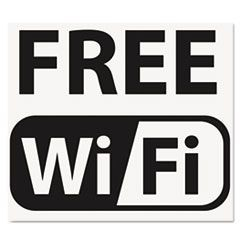 Self-Stick FREE Wi-Fi-Sign, Vinyl, 6 x 6, Black/White