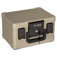 Fire and Waterproof Chest, 0.15 cu. ft., 12 1/5w x 9 4/5d x 7 3/10h, Taupe