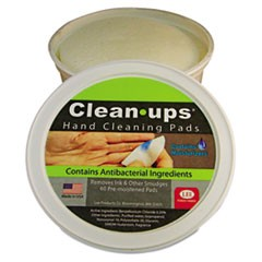 "Clean-Ups Hand Cleaning Pads, Cloth, 3"" dia, 60/Tub"