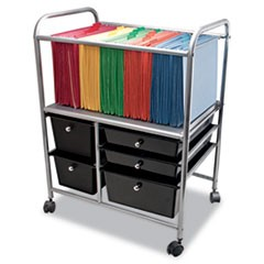 Letter/Legal File Cart w/Five Storage Drawers, 21.63w x 15.25d x 28.63h, Black
