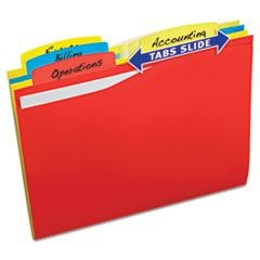Slide & Lift Tab File Folder, Letter, 1/3 Cut Tab, Assorted, 24/Pack