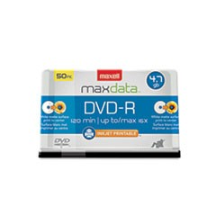 1DVD-R Recordable Discs, Printable, 4.7GB, 16x, Spindle, White, 50/Pack