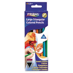 Prang Triangular Colored Woodcase Pencil, 5.5 mm, Assorted, 12/Set