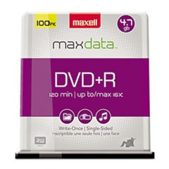 1DVD+R Discs, 4.7GB, 16x, Spindle, Silver, 100/Pack