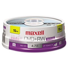 1DVD+RW Discs, 4.7GB, 4x, Spindle, Silver, 15/Pack