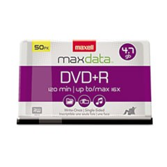 1DVD+R Discs, 4.7GB, 16x, Spindle, Silver, 50/Pack