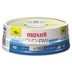 1DVD-RW Discs, 4.7GB, 2x, Spindle, Gold, 15/Pack