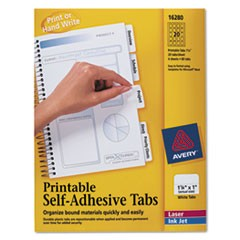 Printable Plastic Tabs with Repositionable Adhesive, 1 1/4, White, 96/Pack