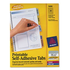 Printable Plastic Tabs with Repositionable Adhesive, 1 3/4, Assorted, 80/Pack