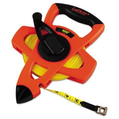 "Engineer Hi-Viz Fiberglass Measuring Tape, 1/2""x100ft, Yellow Blade, Orange Case"