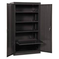 Pull-Out Shelf Storage Cabinet, 36w x 24d x 66h, Black