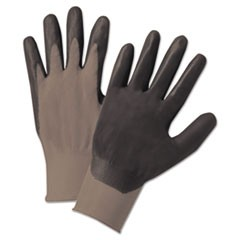 Nitrile-Coated Gloves, Gray/Black, Nylon Knit, Medium, 12 Pairs