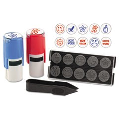 "Stamp-Ever Stamp, Self-Inking with 10 Dies, 5/8"", Blue/Red"