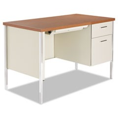 Single Pedestal Steel Desk, Metal Desk, 45-1/4w x 24d x 29-1/2h, Cherry/Putty