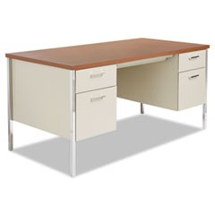 Double Pedestal Steel Desk, Metal Desk, 60w x 30d x 29.5h, Cherry/Putty