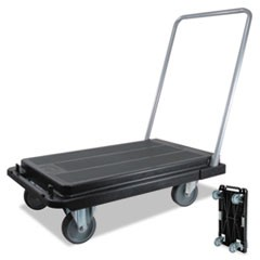 "Heavy-Duty Platform Cart, 300lb Capacity, 33""d x 21""w x 37""h, Black"
