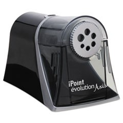 "iPoint Evolution Axis Pencil Sharpener, AC-Powered, 5"" x 7.5"" x 7.25"", Black/Silver"
