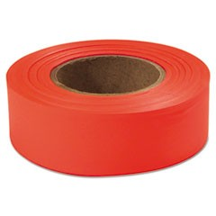 "Flagging Tape, Glo-Orange, 1"" x 200ft, Plastic"