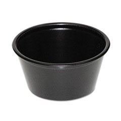 Plastic Souffl� Cups, 2 oz., Black, 200/Bag, 12 Bags/Carton