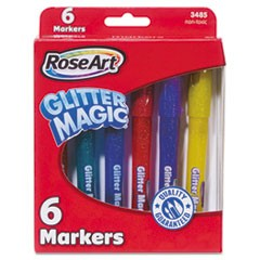 Glitter Magic Markers, Washable, Assorted Colors, 6/Set