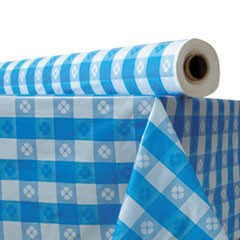 "1Plastic Table Cover, 40"" x 300 ft Roll, Blue Gingham"