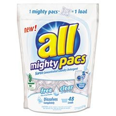 Mighty Pacs Free and Clear Super Concentrated Laundry Detergent, 50oz Pack