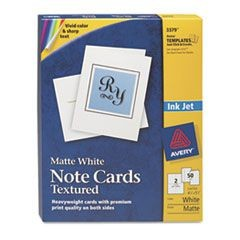 Textured Note Cards, Inkjet, 4 1/4 x 5 1/2, Uncoated White, 50/Bx w/Envelopes